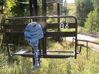 blue beanie chairlift